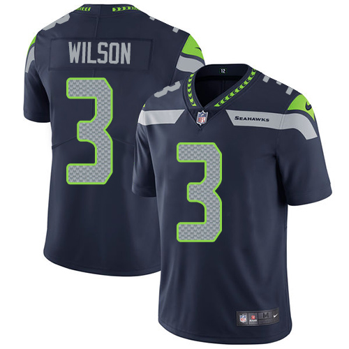 Youth Nike Seattle Seahawks #3 Russell Wilson Steel Blue Team Color Stitched NFL Vapor Untouchable Limited Jersey