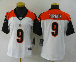 Women's Cincinnati Bengals #9 Joe Burrow White 2020 Vapor Untouchable Stitched NFL Nike Limited Jersey