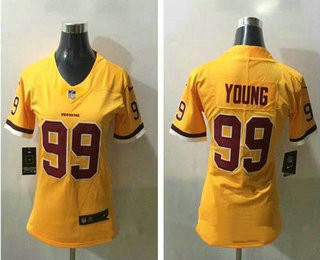 Women's Washington Redskins #99 Chase Young Gold 2020 Color Rush Stitched NFL Nike Limited Jersey
