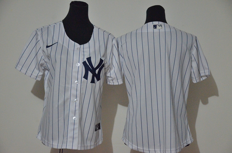 Women's New York Yankees Blank White Home Stitched MLB Cool Base Nike Jersey