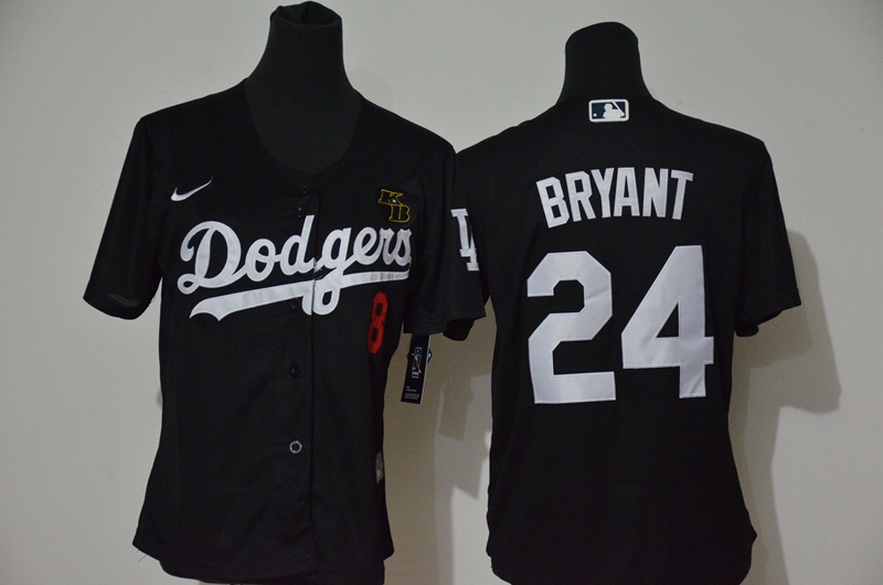 Youth Los Angeles Dodgers #24 Kobe Bryant Black KB Patch Stitched MLB Cool Base Nike Jersey