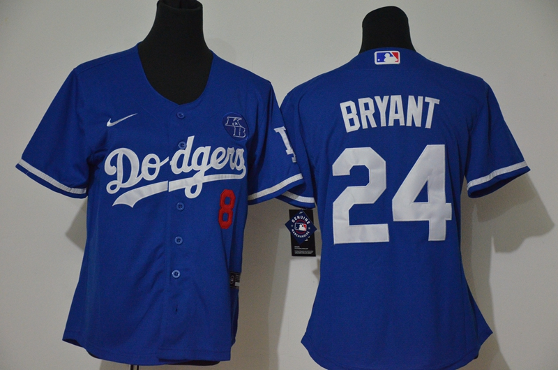 Women's Los Angeles Dodgers #24 Kobe Bryant Blue KB Patch Stitched MLB Cool Base Nike Jersey