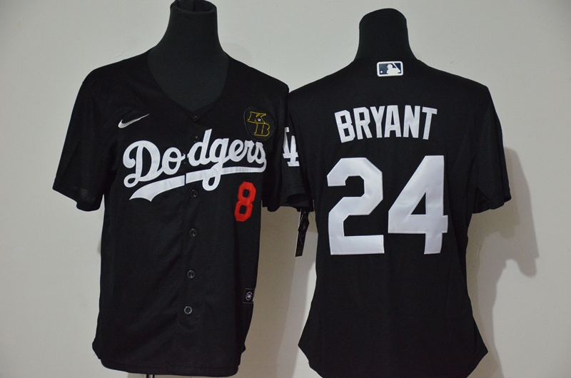 Women's Los Angeles Dodgers #24 Kobe Bryant Black KB Patch Stitched MLB Cool Base Nike Jersey