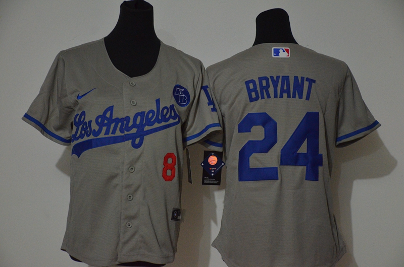 Women's Los Angeles Dodgers #24 Kobe Bryant Grey KB Patch Stitched MLB Cool Base Nike Jersey