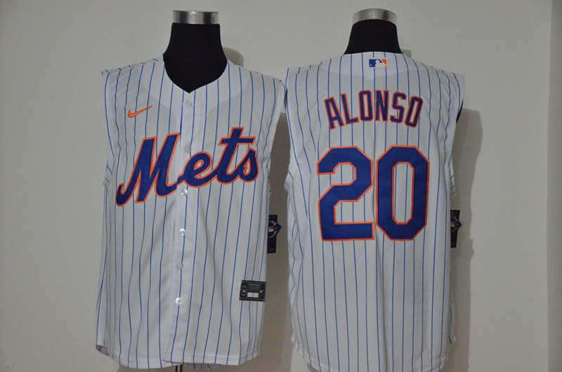 Men's New York Mets #20 Pete Alonso White 2020 Cool and Refreshing Sleeveless Fan Stitched MLB Nike Jersey