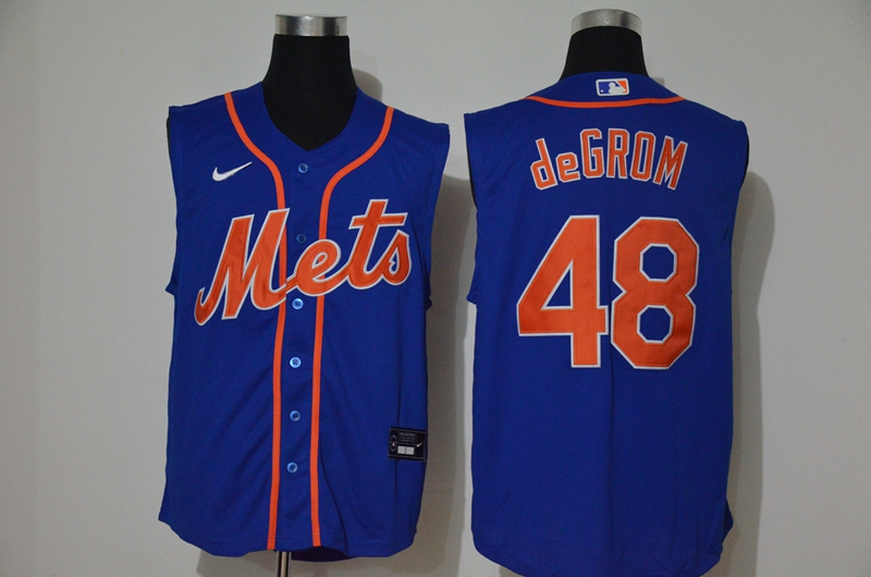 Men's New York Mets #48 Jacob deGrom Blue 2020 Cool and Refreshing Sleeveless Fan Stitched MLB Nike Jersey