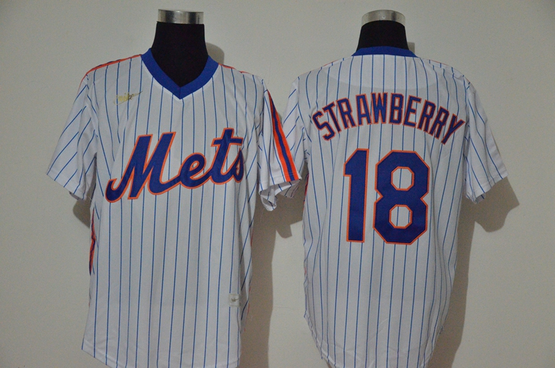 Men's New York Mets #18 Darryl Strawberry White Throwback Cooperstown Stitched MLB Cool Base Nike Jersey