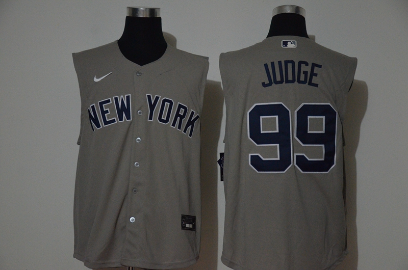 Men's New York Yankees #99 Aaron Judge Grey 2020 Cool and Refreshing Sleeveless Fan Stitched MLB Nike Jersey