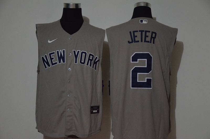 Men's New York Yankees #2 Derek Jeter Grey 2020 Cool and Refreshing Sleeveless Fan Stitched MLB Nike Jersey