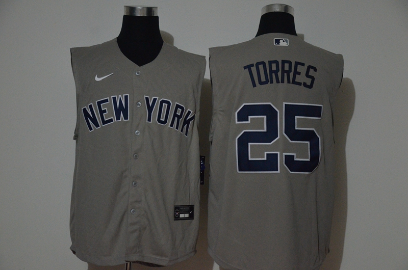 Men's New York Yankees #25 Gleyber Torres Grey 2020 Cool and Refreshing Sleeveless Fan Stitched MLB Nike Jersey