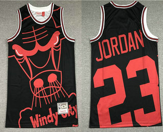 Men's Chicago Bulls #23 Michael Jordan Black Big Face Mitchell Ness Hardwood Classics Soul Swingman Throwback Jersey