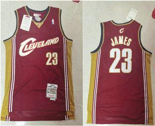 Men's Cleveland Cavaliers #23 LeBron James 2003-04 Burgundy Red Hardwood Classics Soul Swingman Throwback Jersey
