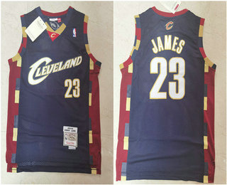 Men's Cleveland Cavaliers #23 LeBron James 2003-04 Navy Blue Hardwood Classics Soul Swingman Throwback Jersey