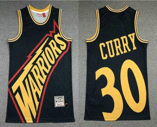 Men's Golden State Warriors #30 Stephen Curry Black Big Face Mitchell Ness Hardwood Classics Soul Swingman Throwback Jersey