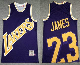 Men's Los Angeles Lakers #23 LeBron James Purple Big Face Mitchell Ness Hardwood Classics Soul Swingman Throwback Jersey