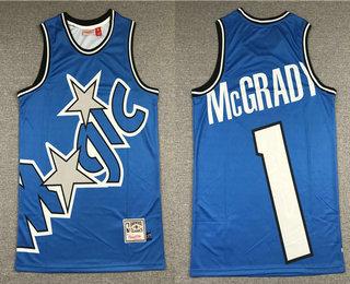 Men's Orlando Magic #1 Tracy McGrady Blue Big Face Mitchell Ness Hardwood Classics Soul Swingman Throwback Jersey
