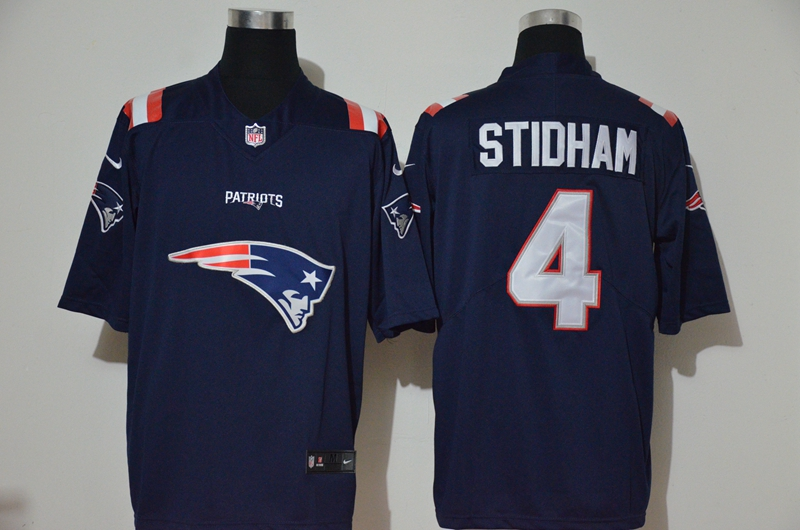 Men's New England Patriots #4 Jarrett Stidham Navy Blue 2020 Team Logo Vapor Untouchable Stitched NFL Nike Fashion Limited Jersey