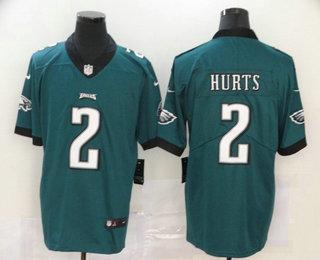 Men's Philadelphia Eagles #2 Jalen Hurts Midnight Green 2020 Vapor Untouchable Stitched NFL Nike Limited Jersey