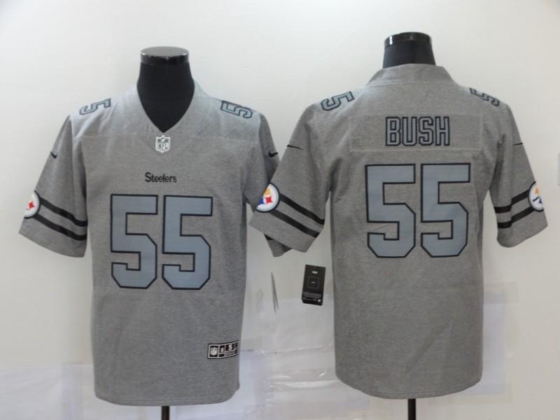 Men's Pittsburgh Steelers #55 Devin Bush 2019 Gray Gridiron Vapor Untouchable Stitched NFL Nike Limited Jersey