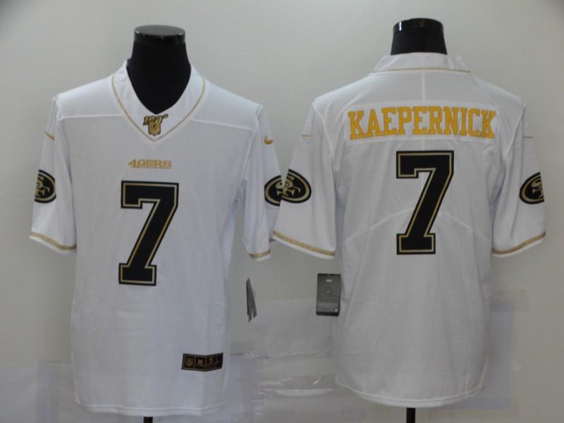 Men's San Francisco 49ers #7 Colin Kaepernick White 100th Season Golden Edition Jersey
