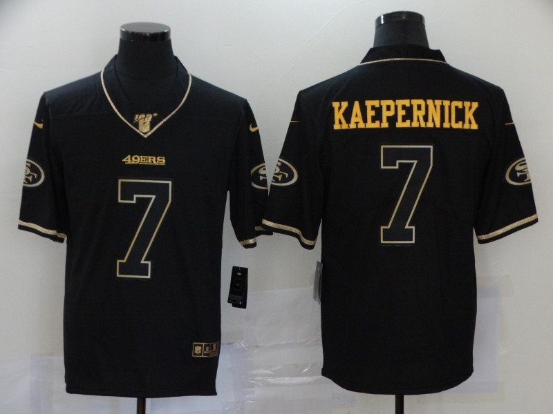Men's San Francisco 49ers #7 Colin Kaepernick Black 100th Season Golden Edition Jersey