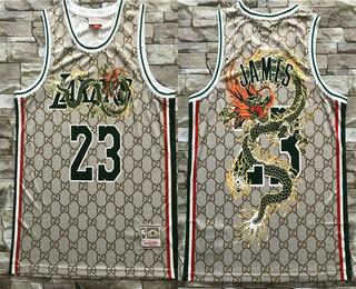 Men's Los Angeles Lakers #23 LeBron James Hardwood Classics Soul Swingman Throwback Jersey