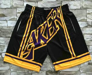 Men's Los Angeles Lakers Black Big Face Mitchell Ness Hardwood Classics Soul Swingman Throwback Shorts