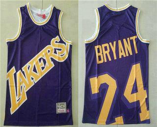 Men's Los Angeles Lakers #24 Kobe Bryant Purple Big Face Mitchell Ness Hardwood Classics Soul Swingman Throwback Jersey