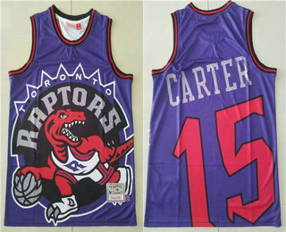 Men's Toronto Raptors #15 Vince Carter Purple Big Face Mitchell Ness Hardwood Classics Soul Swingman Throwback Jersey