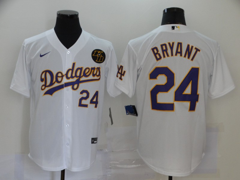 Men's Los Angeles Dodgers #24 Kobe Bryant White With Purple Name KB Patch Stitched MLB Cool Base Nike Jersey