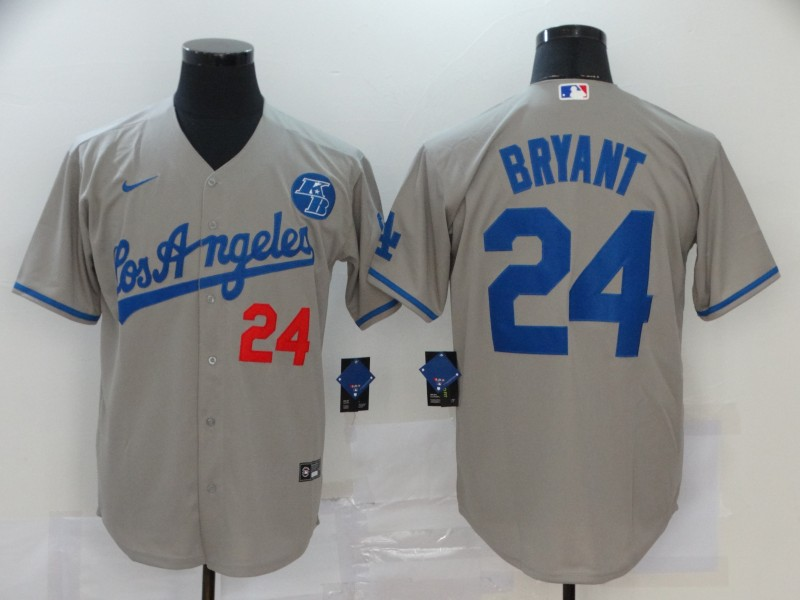 Men's Los Angeles Dodgers #24 Kobe Bryant Grey KB Patch Stitched MLB Cool Base Nike Jersey