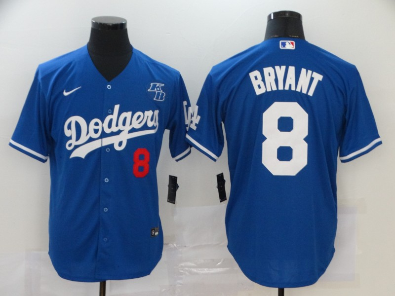 Men's Los Angeles Dodgers #8 Kobe Bryant Blue KB Patch Stitched MLB Cool Base Nike Jersey