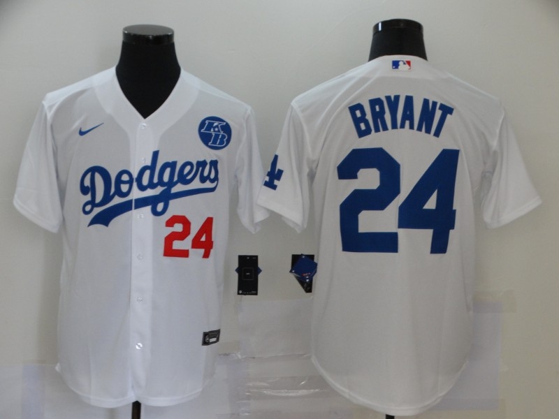 Men's Los Angeles Dodgers #24 Kobe Bryant White KB Patch Stitched MLB Cool Base Nike Jersey