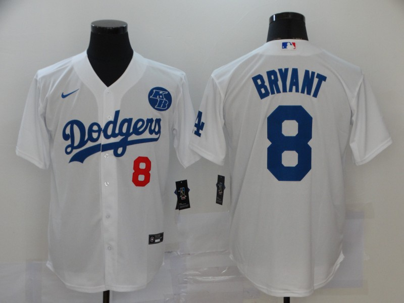 Men's Los Angeles Dodgers #8 Kobe Bryant White KB Patch Stitched MLB Cool Base Nike Jersey