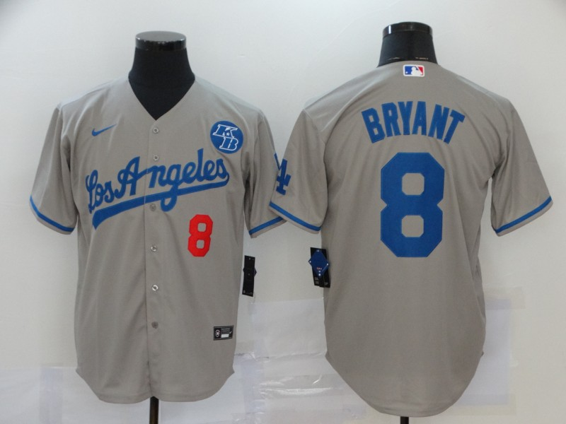 Men's Los Angeles Dodgers #8 Kobe Bryant Grey KB Patch Stitched MLB Cool Base Nike Jersey