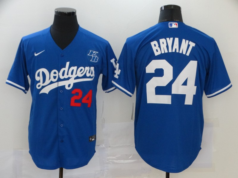 Men's Los Angeles Dodgers #24 Kobe Bryant Blue KB Patch Stitched MLB Cool Base Nike Jersey