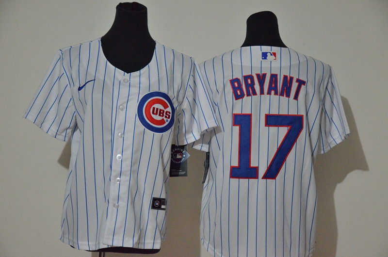 Youth Chicago Cubs #17 Kris Bryant White Stitched MLB Cool Base Nike Jersey