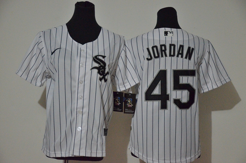 Youth Chicago White Sox #45 Michael Jordan White Stitched MLB Cool Base Nike Jersey