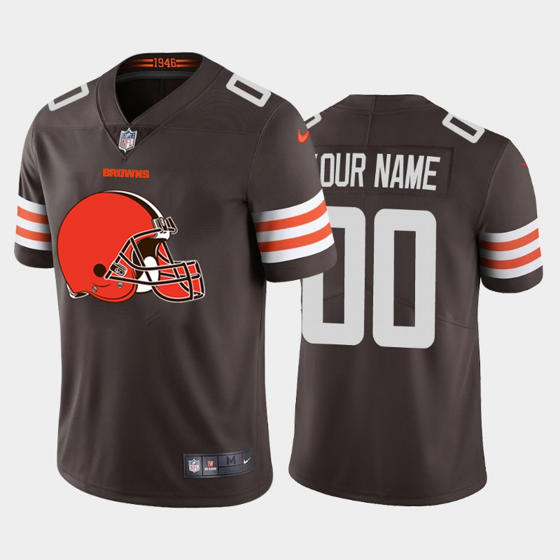Nike Cleveland Browns Customized Brown Team Big Logo Vapor Untouchable Limited Jersey