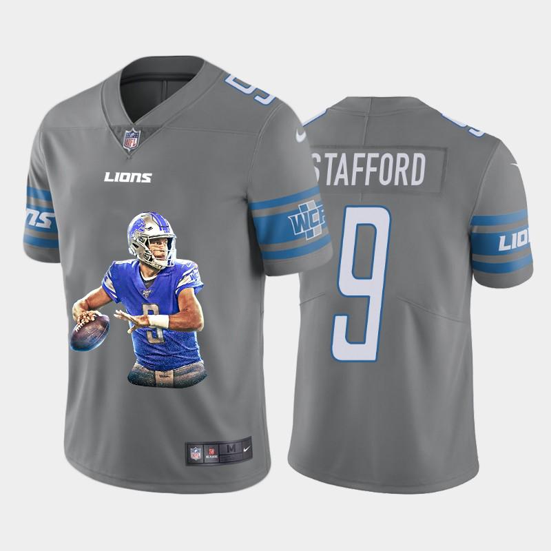 Men's Detroit Lions #9 Matthew Stafford Grey Player Portrait Edition 2020 Vapor Untouchable Stitched NFL Nike Limited Jersey
