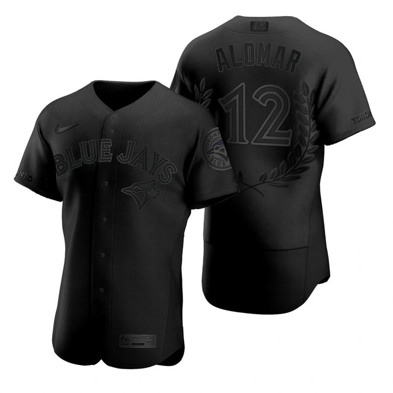 Men's Toronto Blue Jays #12 Roberto Alomar Black Nike Flexbase Fashion Jersey