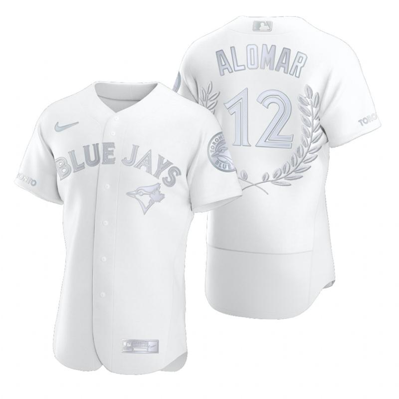 Men's Toronto Blue Jays #12 Roberto Alomar White Nike Flexbase Fashion Jersey