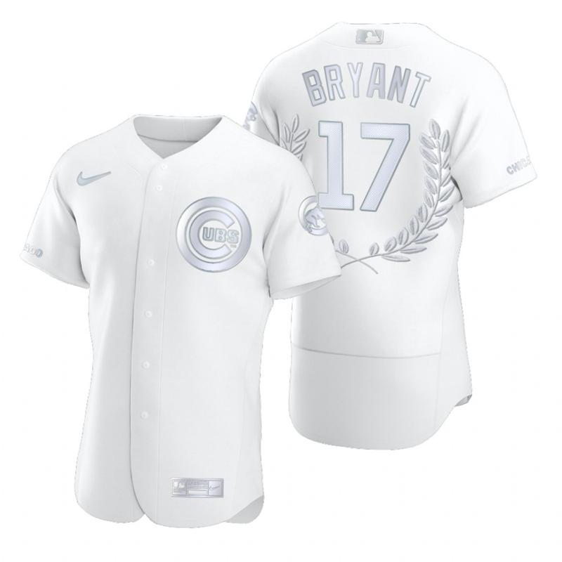 Men's Chicago Cubs #17 Kris Bryant White Nike Flexbase Fashion Jersey