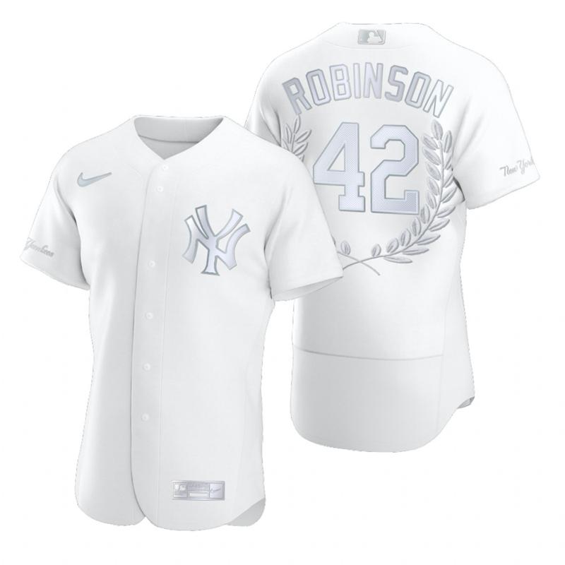 Men's New York Yankees #42 Jackie Robinson White Nike Flexbase Fashion Jersey