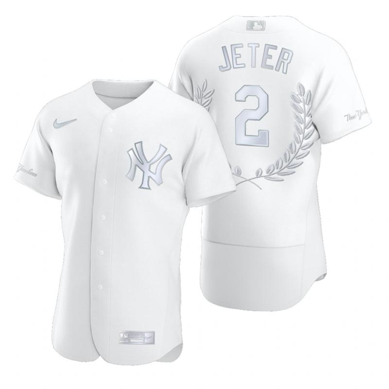 Men's New York Yankees #2 Derek Jeter White Nike Flexbase Fashion Jersey