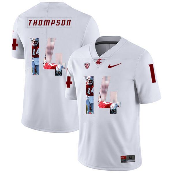Washington State Cougars 14 Jack Thompson White Fashion College Football Jersey