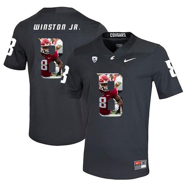 Washington State Cougars 8 Easop Winston Jr. Black Fashion College Football Jersey