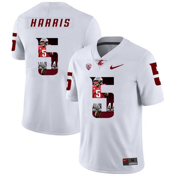Washington State Cougars 5 Travell Harris White Fashion College Football Jersey