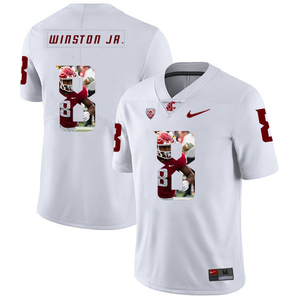 Washington State Cougars 8 Easop Winston Jr. White Fashion College Football Jersey