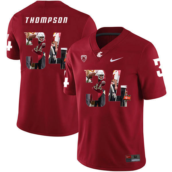 Washington State Cougars 34 Jalen Thompson Red Fashion College Football Jersey